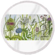 Herbs And Flowers Round Beach Towel