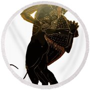 Hercules And The Nemean Lion Round Beach Towel