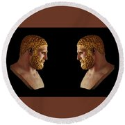 Round Beach Towel featuring the mixed media Hercules - Blondes by Shawn Dall