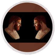Round Beach Towel featuring the mixed media Hercules - Gingers by Shawn Dall