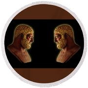 Round Beach Towel featuring the mixed media Hercules - Golden Gods by Shawn Dall
