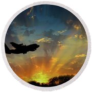 Hercules In The Morning Round Beach Towel