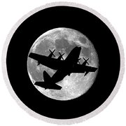 Hercules Moon .png Round Beach Towel