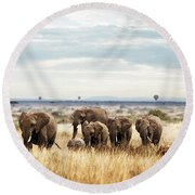 Herd Of Elephant In Kenya Africa Round Beach Towel