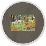 Round Beach Towel featuring the photograph Herd Of Goats In Osage County by Janette Boyd