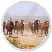 Herd Of Horses During The Great American Horse Drive On A Dusty Road Round Beach Towel