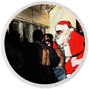 Round Beach Towel featuring the photograph Here Come Santa by Kim Henderson
