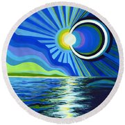 Here Come The Sun Round Beach Towel