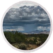 Round Beach Towel featuring the photograph Here Comes The Rain Again by Saija Lehtonen