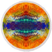 Here Comes The Sun Abstract Stained Glass Art By Omaste Witkowsk Round Beach Towel