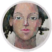 Round Beach Towel featuring the painting Here I Am by Becky Kim
