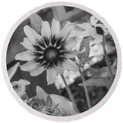 Round Beach Towel featuring the photograph Here I Am In Black And White by Arlene Carmel