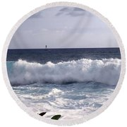 Here It Comes 2 Round Beach Towel by Karen Nicholson