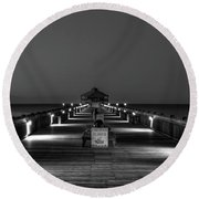 Round Beach Towel featuring the photograph Here It Comes Folly Beach Pier Sunrise Art by Reid Callaway