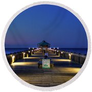 Round Beach Towel featuring the photograph Here It Comes Now Folly Beach Pier Sunrise Art by Reid Callaway