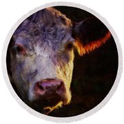 Hereford Cow Round Beach Towel by Michele Carter