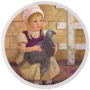 Round Beach Towel featuring the painting Heritage Hen Brahma Chicken by Nancy Lee Moran