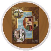 Round Beach Towel featuring the painting Heritage by Judy Via-Wolff