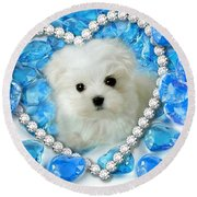 Hermes The Maltese And Blue Hearts Round Beach Towel