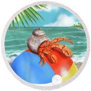 Hermit Crab On A Beachball Round Beach Towel
