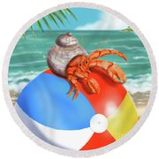 Hermit Crab On A Beachball Round Beach Towel