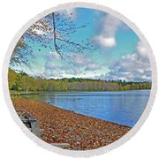 Fall Picnic In Maine Round Beach Towel