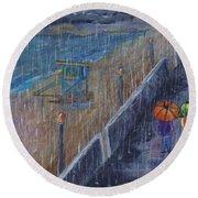 Round Beach Towel featuring the painting Hermosa Beach Rain by Jamie Frier