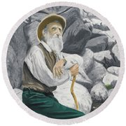 Round Beach Towel featuring the painting Hero Of The Land by Kevin Daly