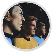Round Beach Towel featuring the painting Heroes Of The Final Frontier by Kim Lockman