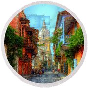 Heroic City, Cartagena De Indias Colombia Round Beach Towel