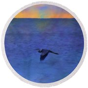 Round Beach Towel featuring the photograph Heron Across The Sea by Jan Amiss Photography