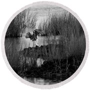Round Beach Towel featuring the photograph Heron And Grass In B/w by William Selander