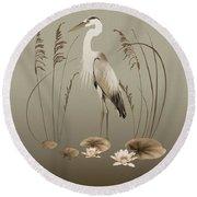 Heron And Lotus Flowers Round Beach Towel