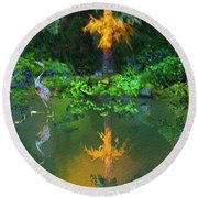 Heron Art Round Beach Towel