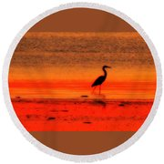 Heron At Dawn Round Beach Towel