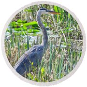 Heron By The Riverside Round Beach Towel