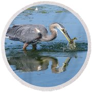 Great Blue Heron Catches A Fish Round Beach Towel