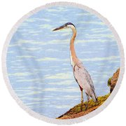 Heron Fishing Sketch Round Beach Towel