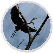 Heron Flight Round Beach Towel
