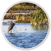 Heron - Horicon Marsh - Wisconsin Round Beach Towel