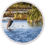 Heron - Horicon Marsh - Wisconsin Round Beach Towel