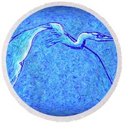 Round Beach Towel featuring the photograph Heron In Flight by Walt Foegelle