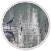 Round Beach Towel featuring the photograph Heron In Pastel Waters by Skip Willits