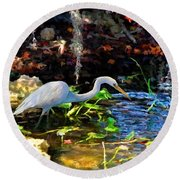 Heron In Quiet Pool Round Beach Towel by David  Van Hulst