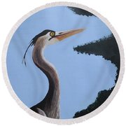 Heron In The Trees Round Beach Towel