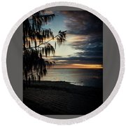 Heron Island Sunset  Round Beach Towel