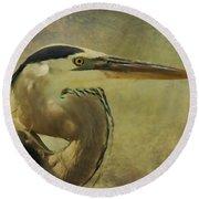 Heron On Texture Round Beach Towel by Deborah Benoit