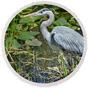 Heron On The River Bank Round Beach Towel