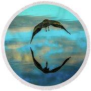 Heron Reflection Round Beach Towel