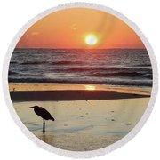 Heron Watching Sunrise Round Beach Towel